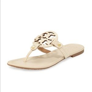 Tory Burch Shoes - Miller Snake-Embossed Logo Flat Sandal